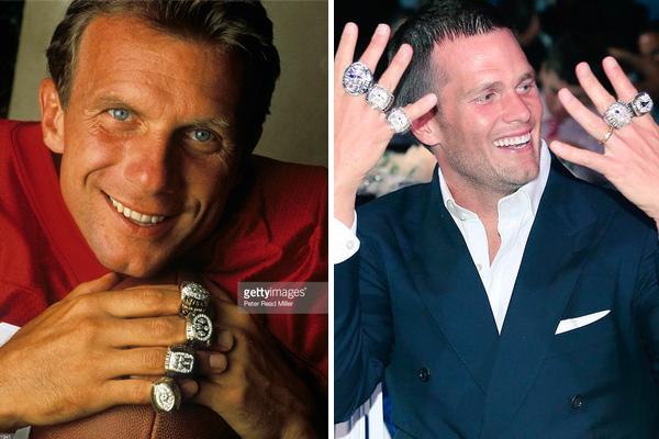 Joe Montana 4 titres, Tom Brady 5 (montage)