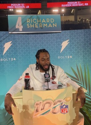 Richard Sherman (S - 49ers) à la soireé d'inauguration du Super Bowl LIV
